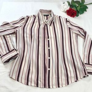 New York and Company Striped Polyester Shirt M